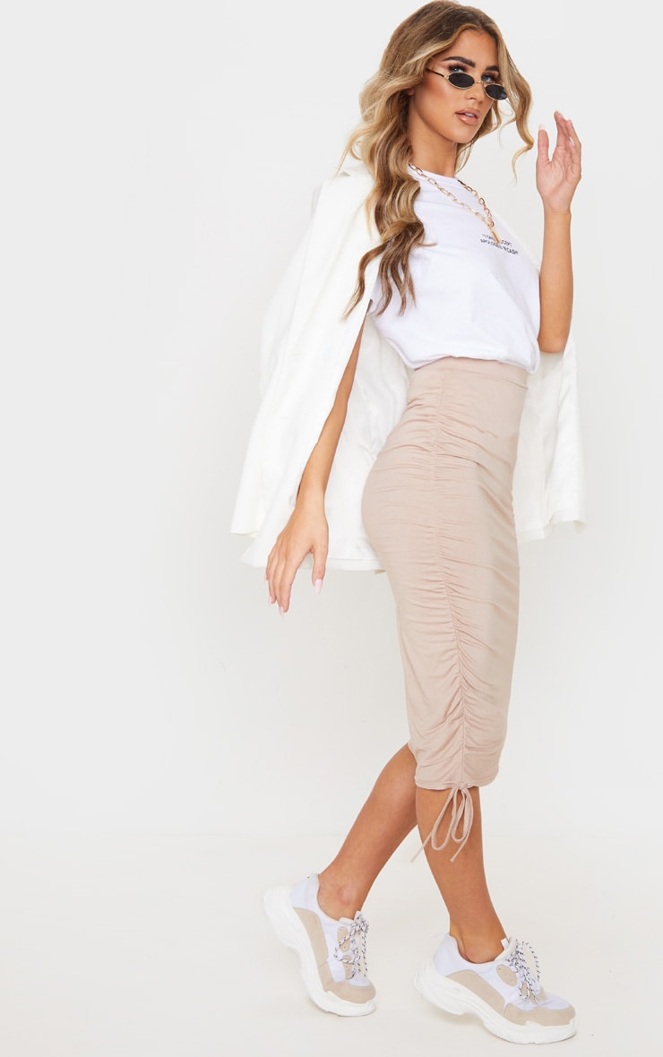 Stone Jersey Ruched Side Detail Midi Skirt  1