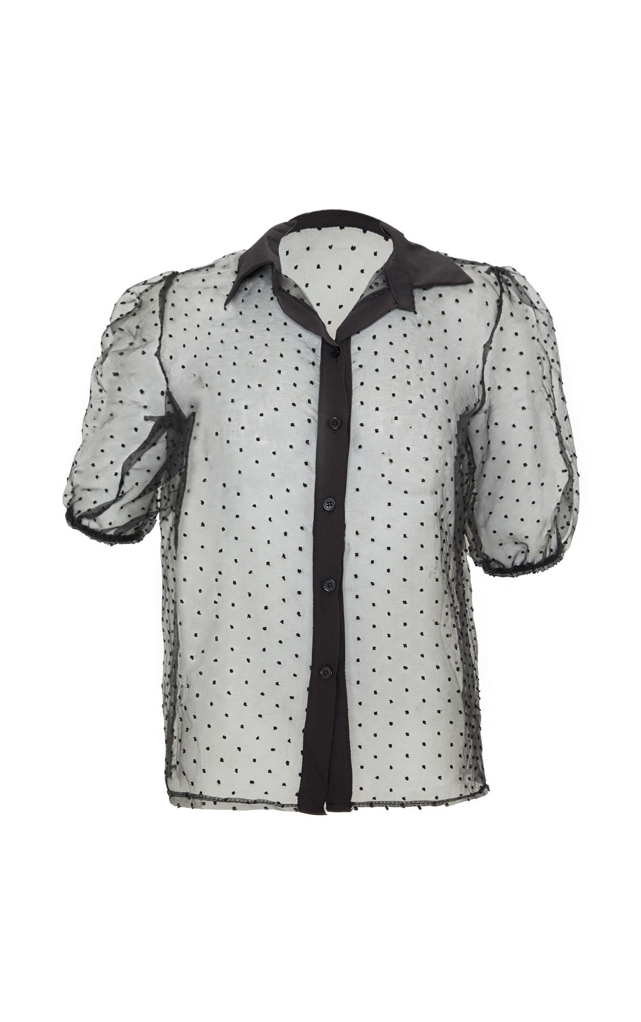 Black Organza Short Sleeve Blouse 3