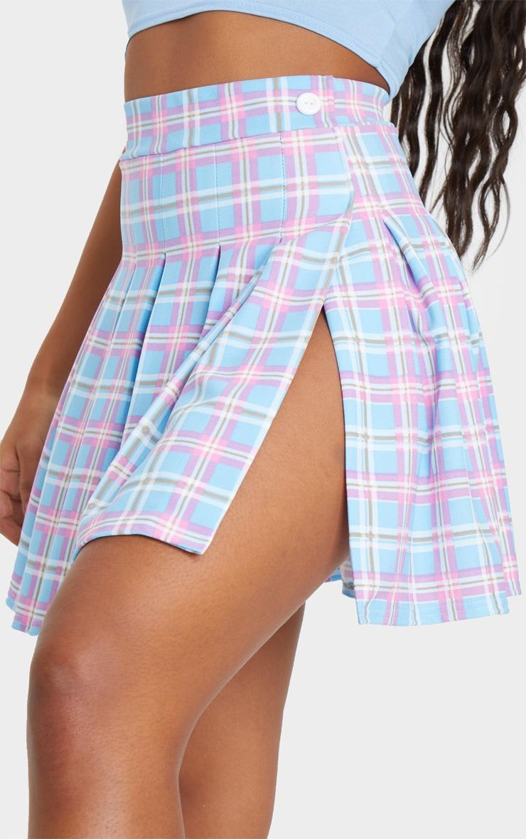 Multi Pastel Check Tennis Side Split Skirt 5