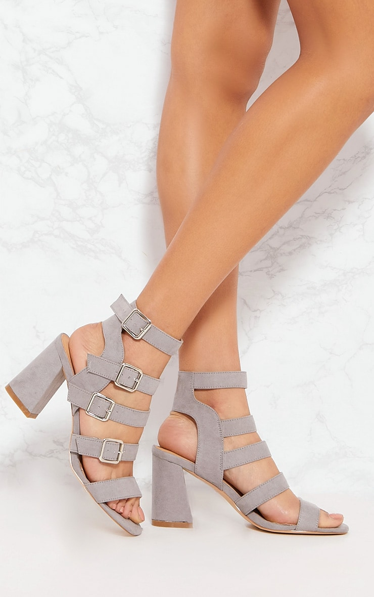 Grey Strappy Buckle Block Heel Sandal 1