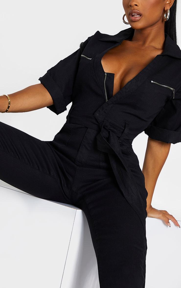 Shape Black Short Sleeve Zip Detail Denim Jumpsuit 4
