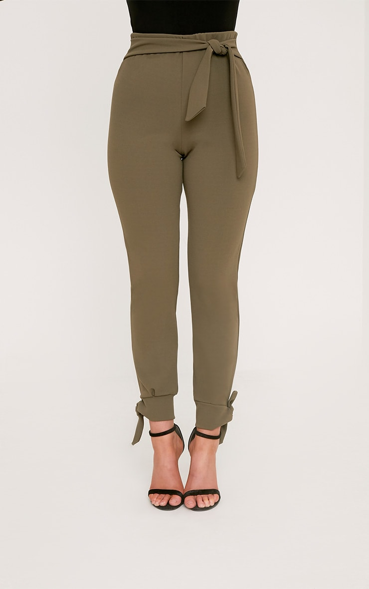 Detta Khaki Tie Detail Fitted Trousers  2