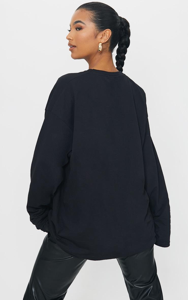 PRETTYLITTLETHING Black Burnout Print Long Sleeve T Shirt 2