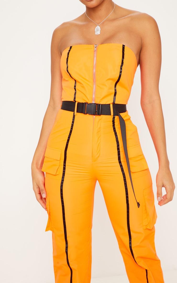 Neon Orange  Shell Suit Bandeau Jumpsuit 5