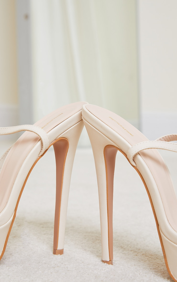 Cream PU Platform Strappy High Heel 4