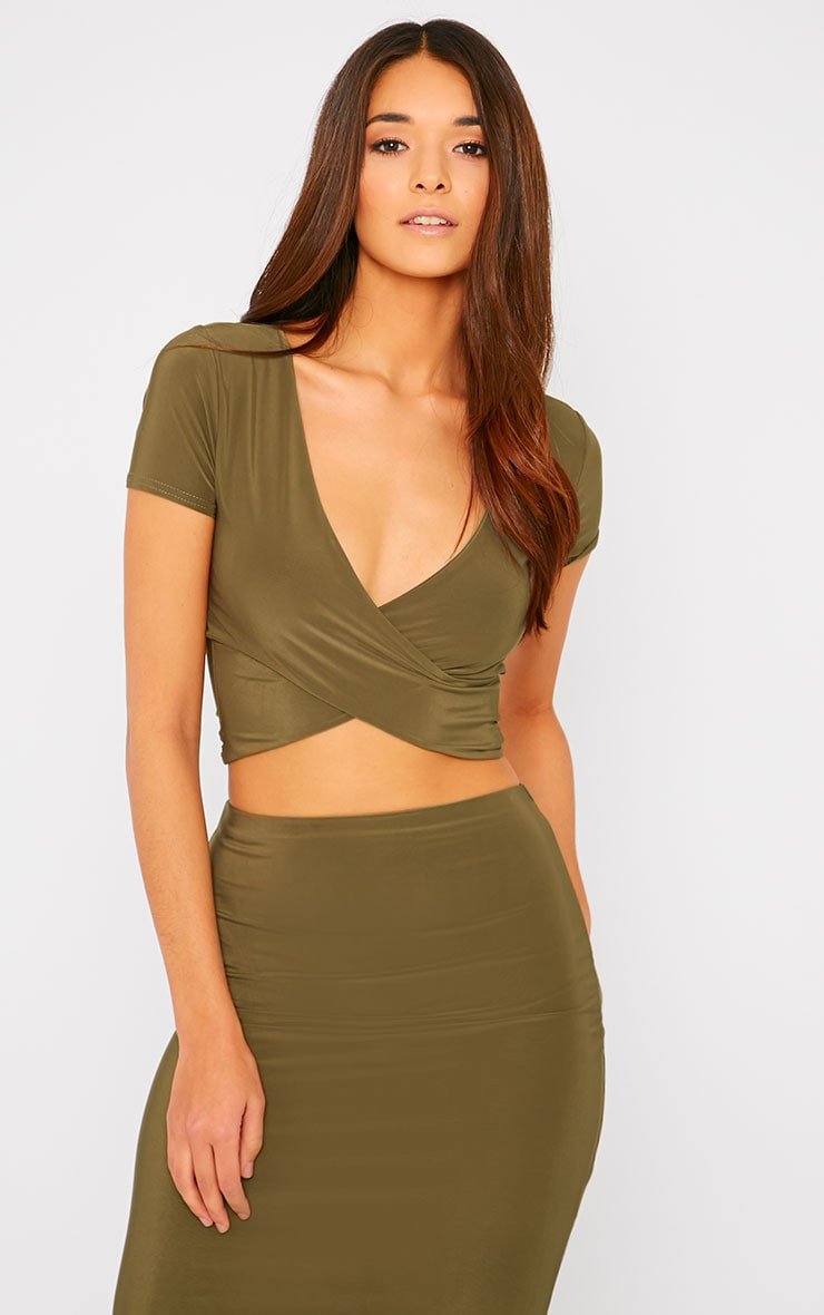 Arabella Khaki Slinky Cross Over Crop Top 1