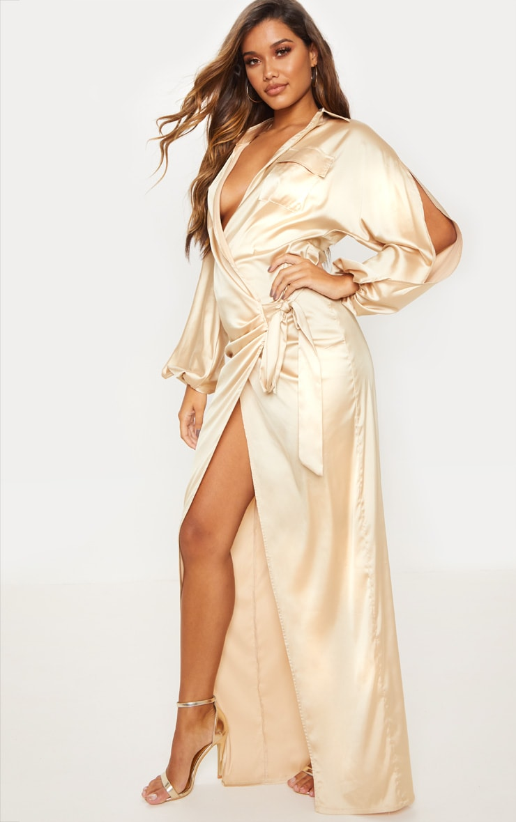 Champagne Satin Pocket Detail Drape Maxi Dress