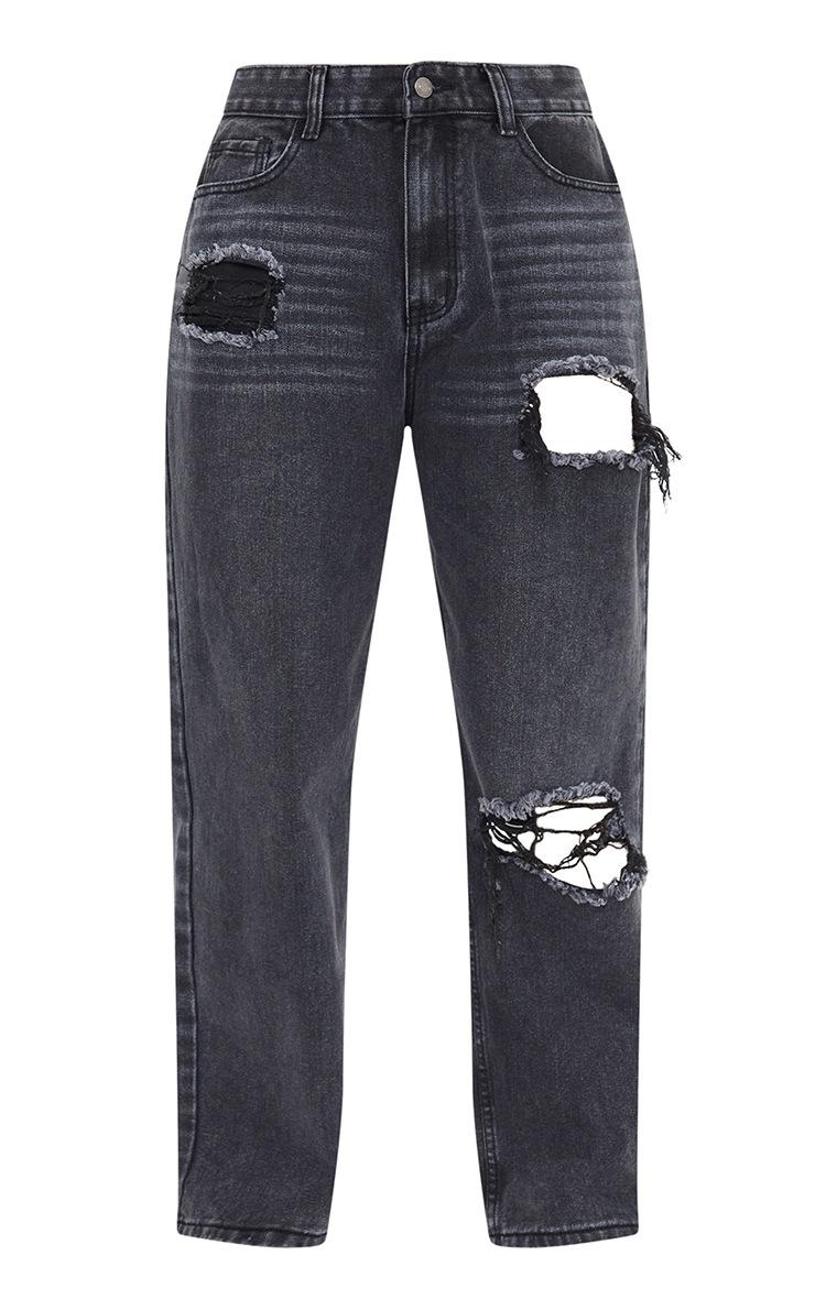 Black Acid Wash Distressed Knee Rip Boyfriend Jeans 5