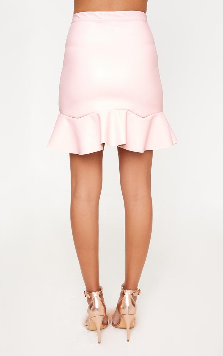 Pink PU Frill Hem Mini Skirt 3