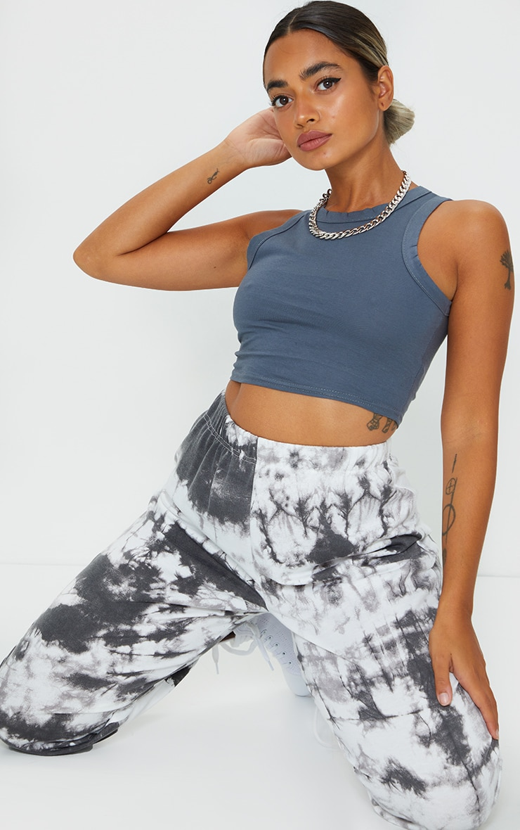 Petite Charcoal Cotton Racer Neck Crop Top 3