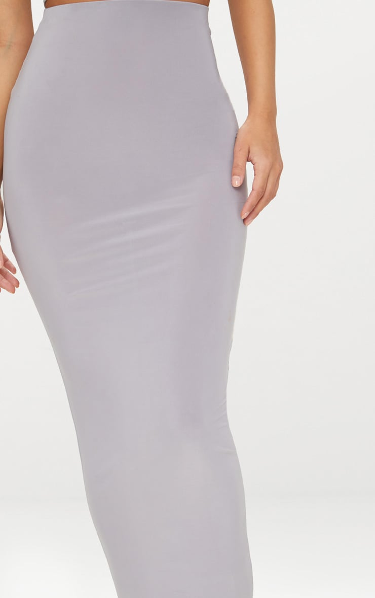 Petite Ice Grey Slinky Midaxi Skirt 4