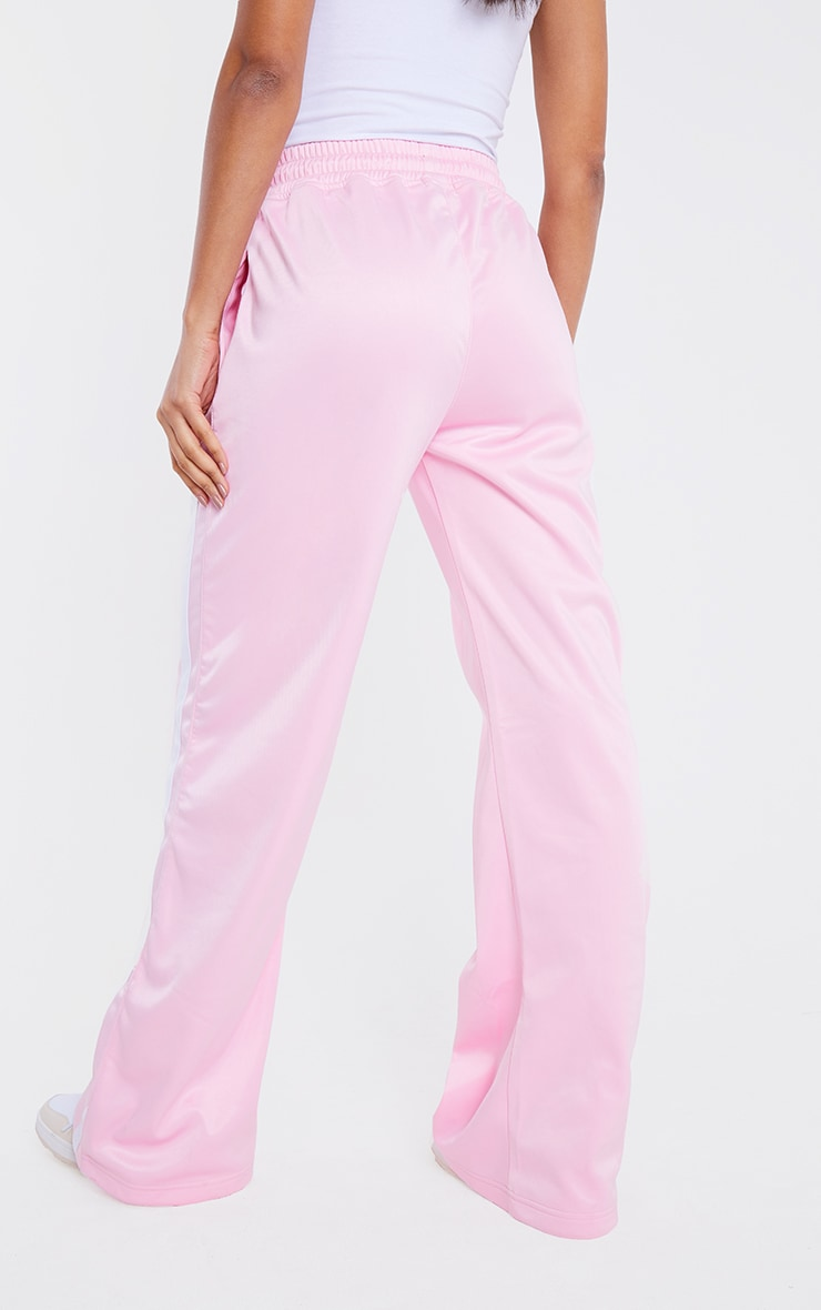 PRETTYLITTLETHING Pink Tricot Side Stripe Joggers 3