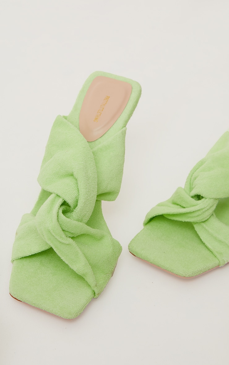 Lime Towelling Square Toe Knot Detail High Heeled Mules 4