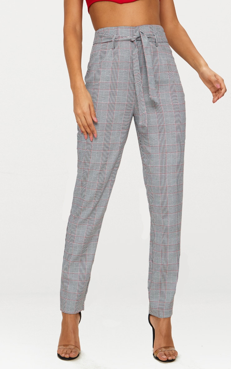 Grey Check Belted Tapered Trousers 2