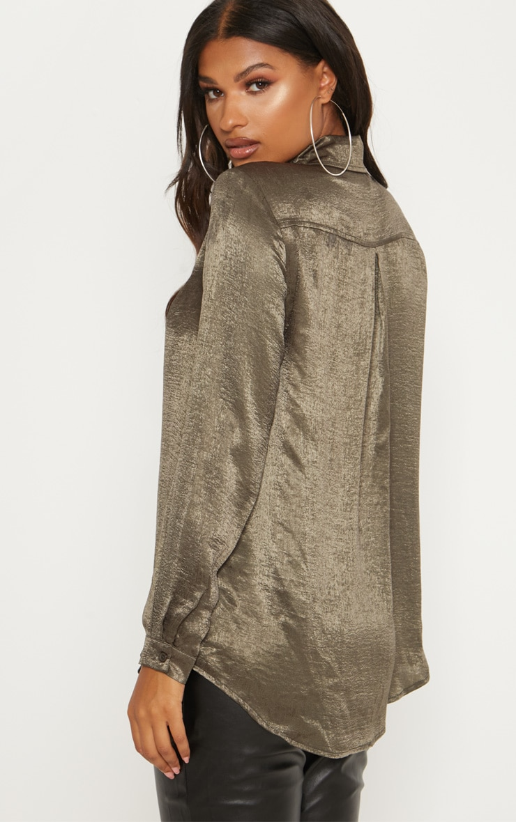 Khaki Oversized Satin Shirt 2