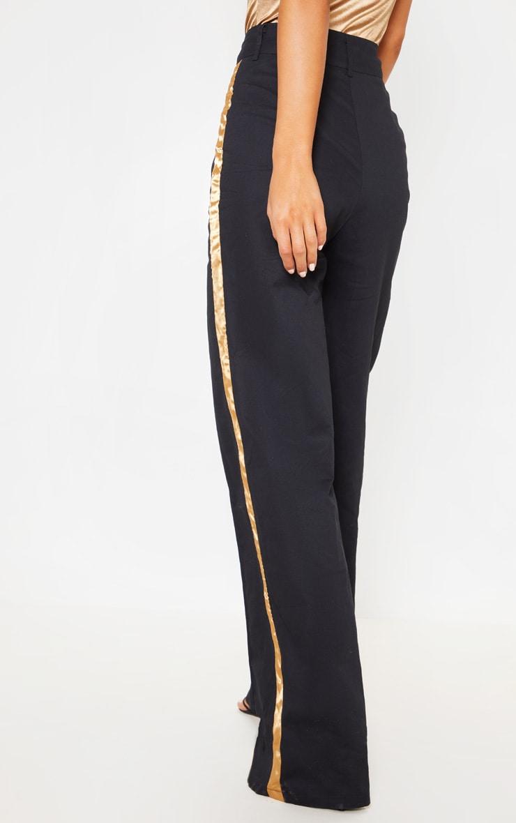 Black Contrast Side Ribbon Wide Leg Trousers 4