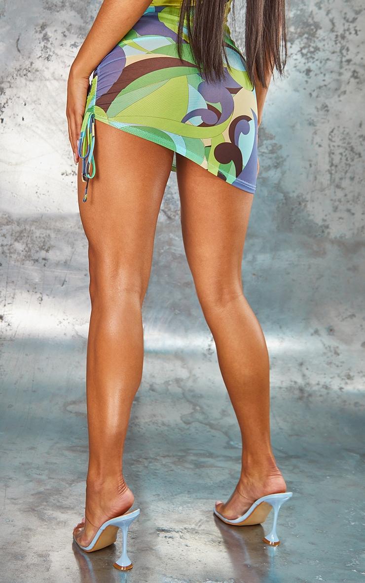 Lime Swirl Print Mesh Asymmetric Mini Skirt 3