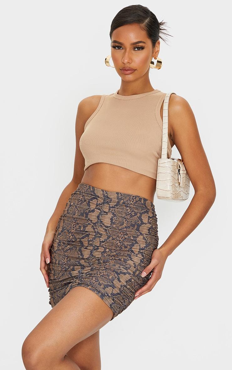 Brown Snake Print Slinky Ruched Mini Skirt 1