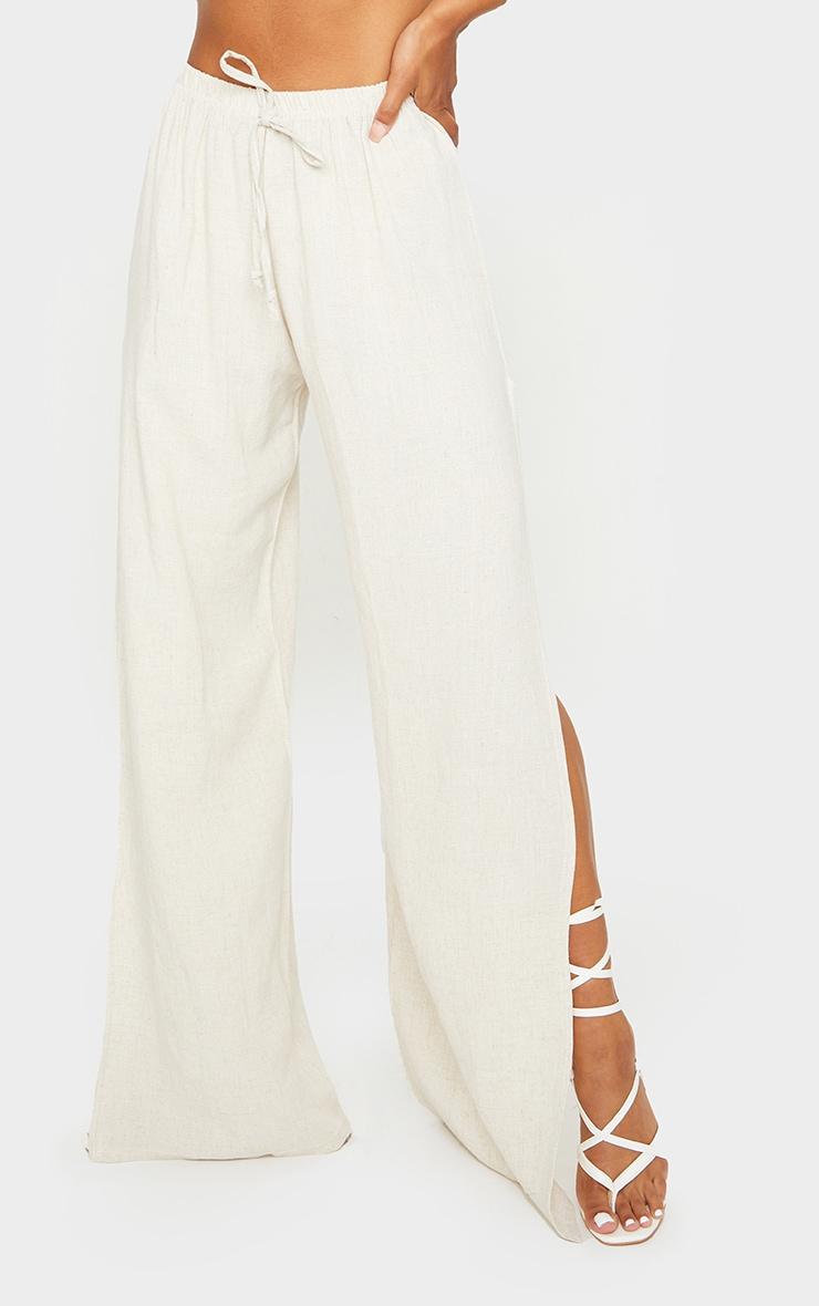 Pantalon évasé effet lin nude à détail fendu 2