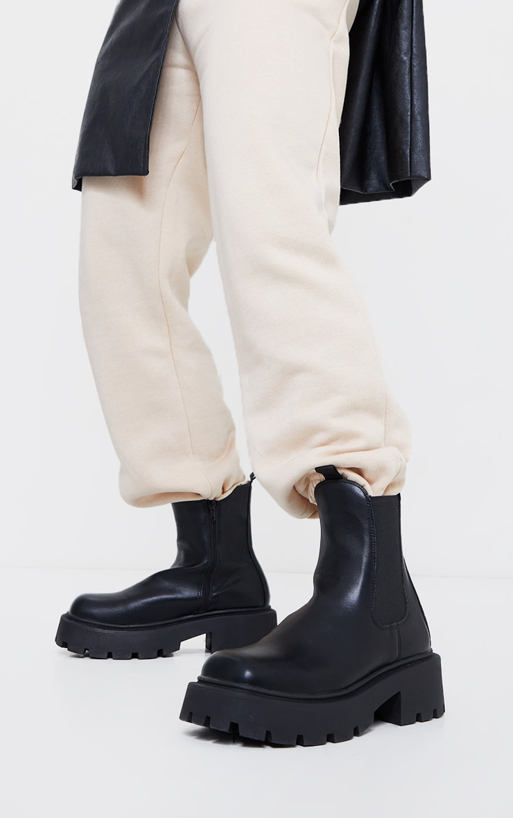 Black Wide Fit Chunky Chelsea Biker Boots 2