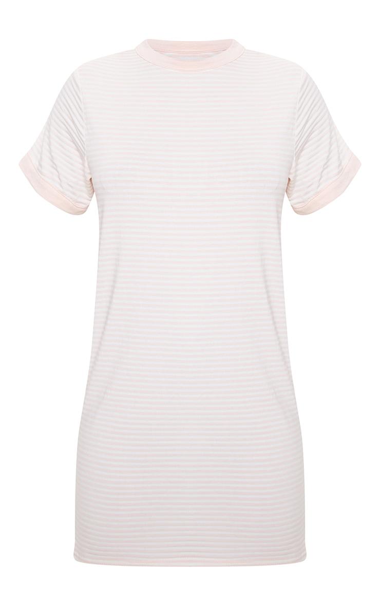 Baby Pink Stripe Crew Neck T Shirt Dress 3