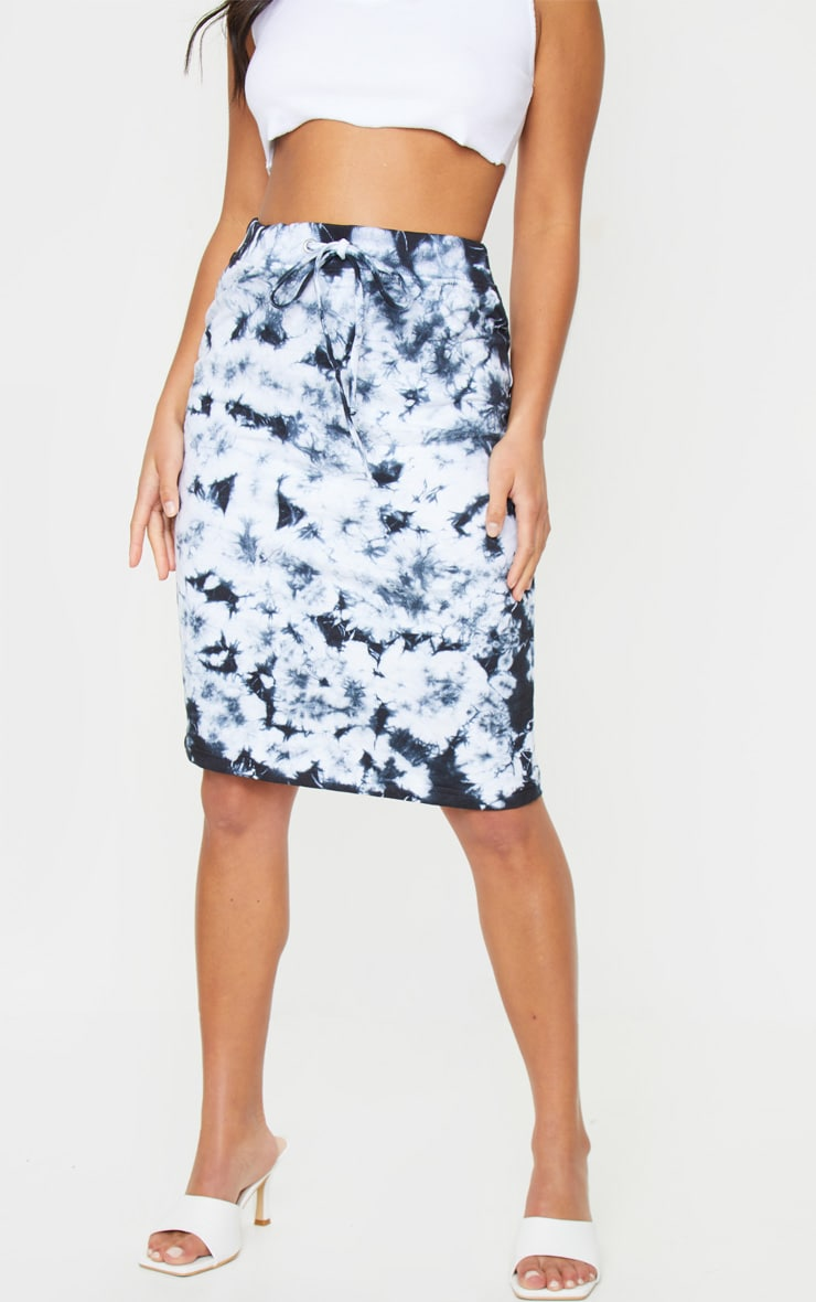 Petite Black Tie Dye Sweat Midi Skirt 2