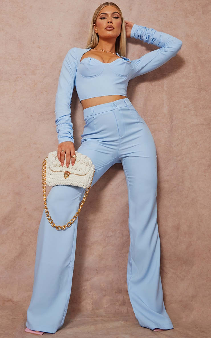 Baby Blue Woven Cup Detail Ruched Sleeve Crop Top 3