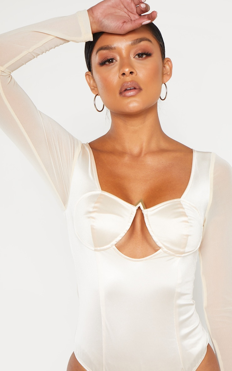Champagne Satin V Bar Cut Out Detail Bodysuit 6