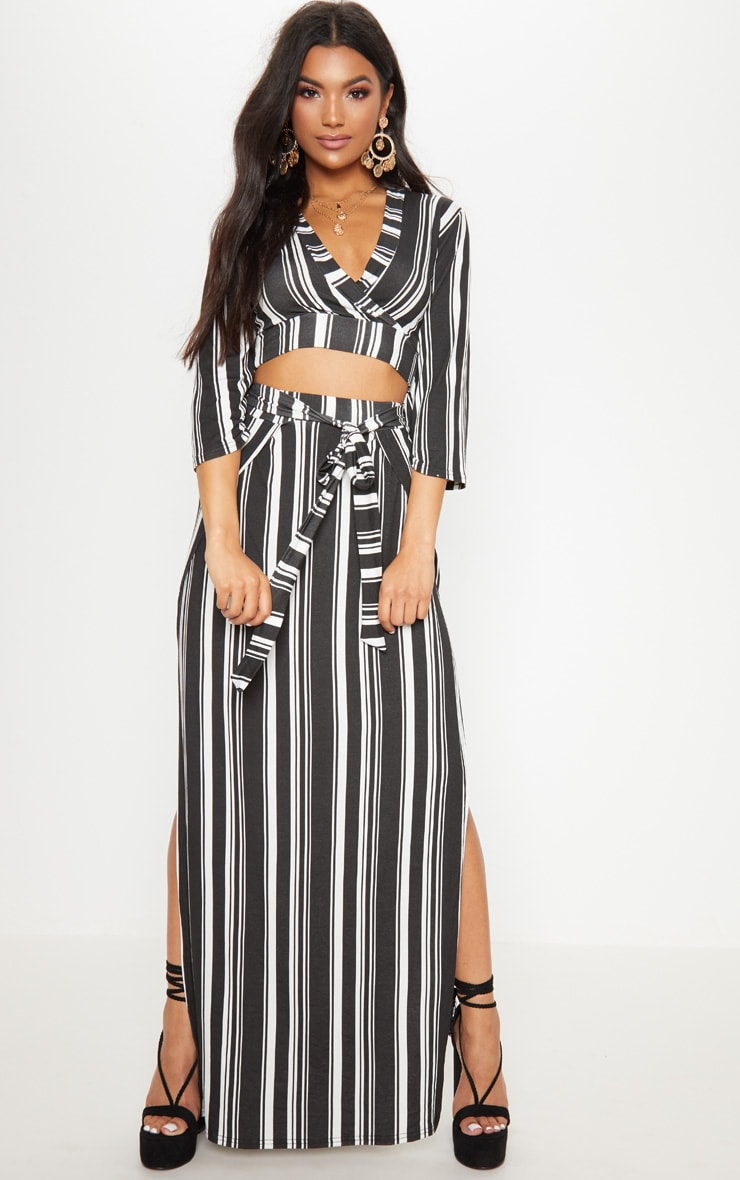 Black Jersey Extreme Split Maxi Skirt 1