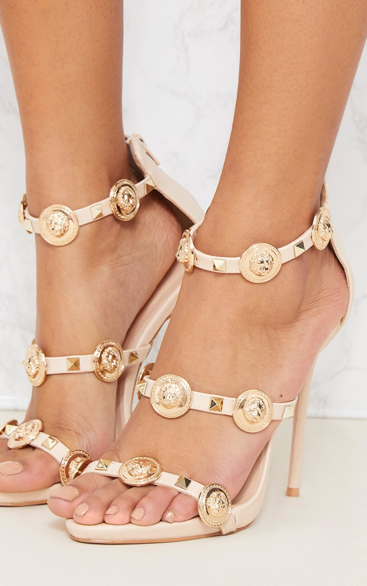 Nude Coin And Stud Triple Strap Sandal 5