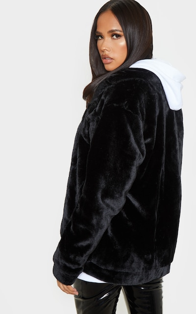 Black Faux Fur Trucker Jacket