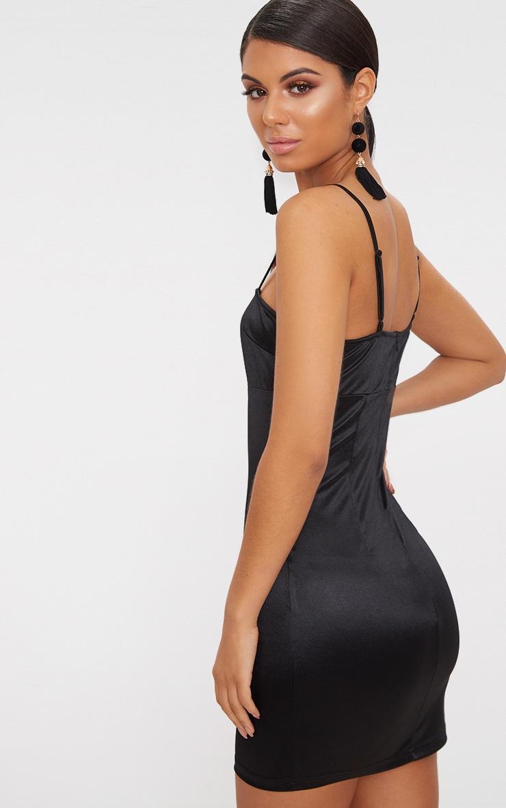 Black strappy straight neck bodycon dress coat erica fashions