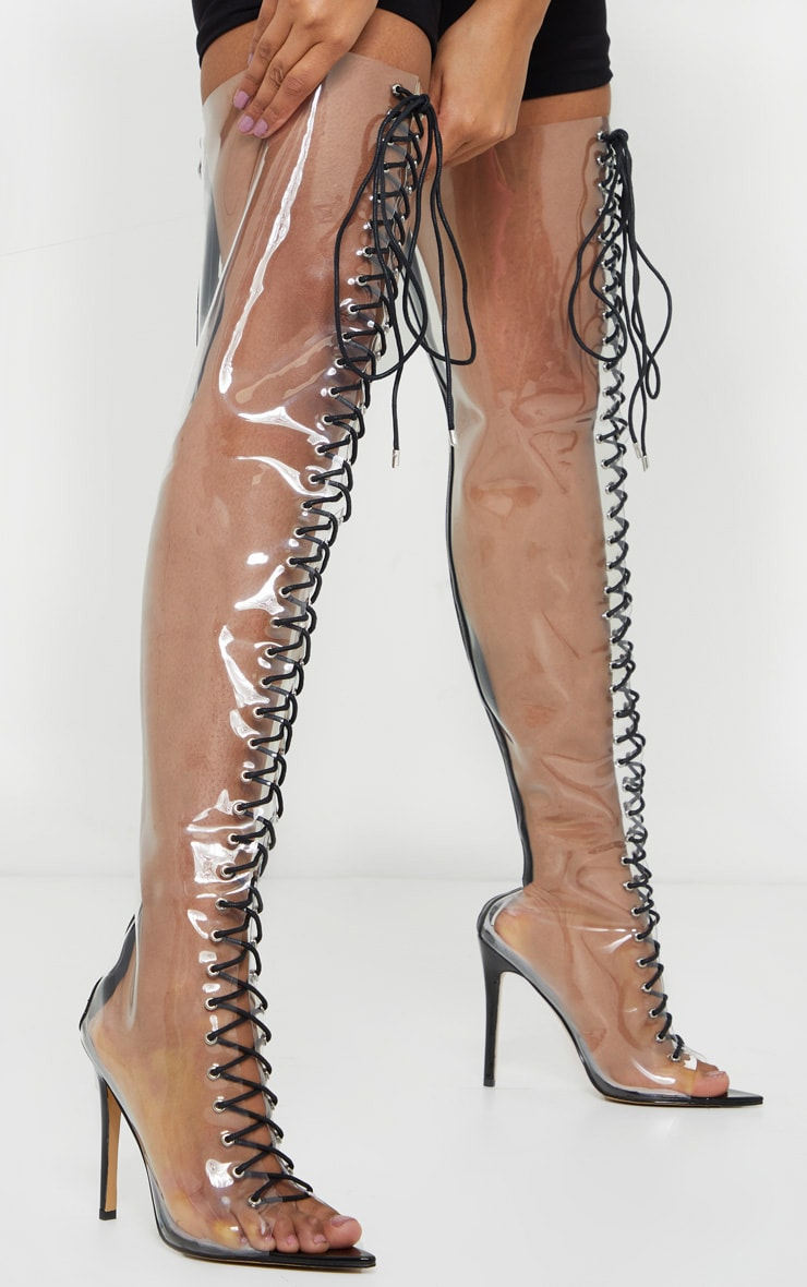 Clear Lace Up Thigh High Boots 2