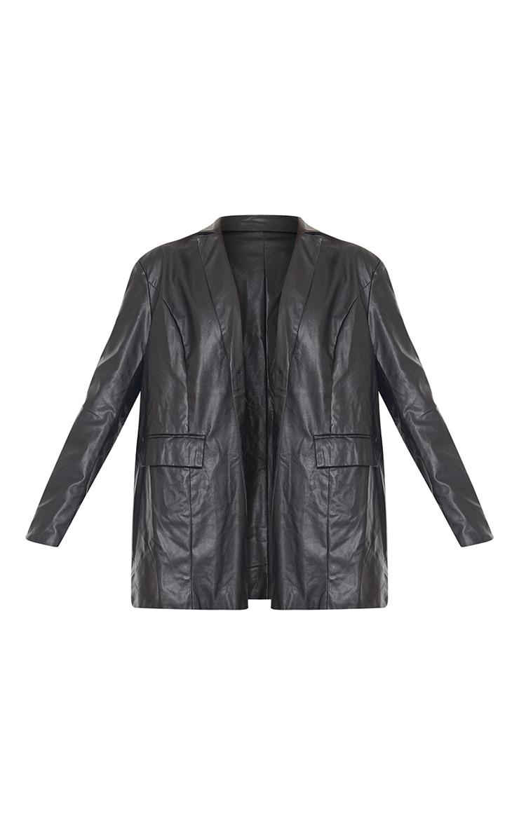 Black Faux Leather Oversized Dad Blazer 5