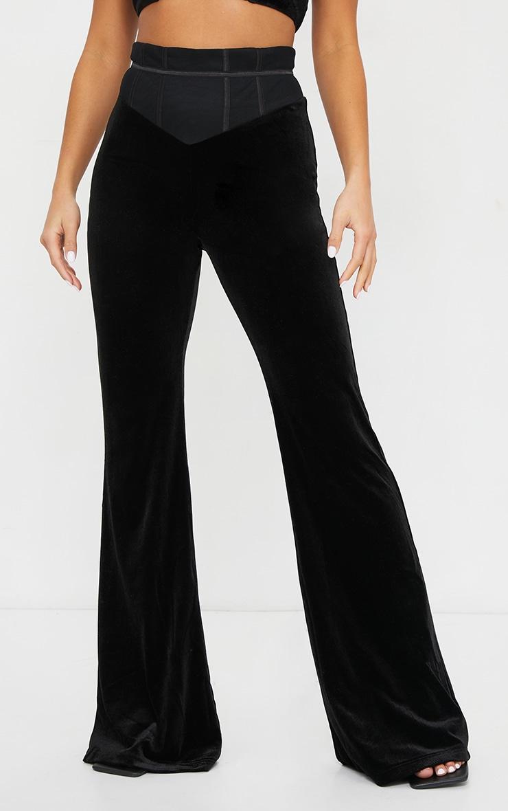 Petite Black Velvet Mesh Wide Leg Pants 2