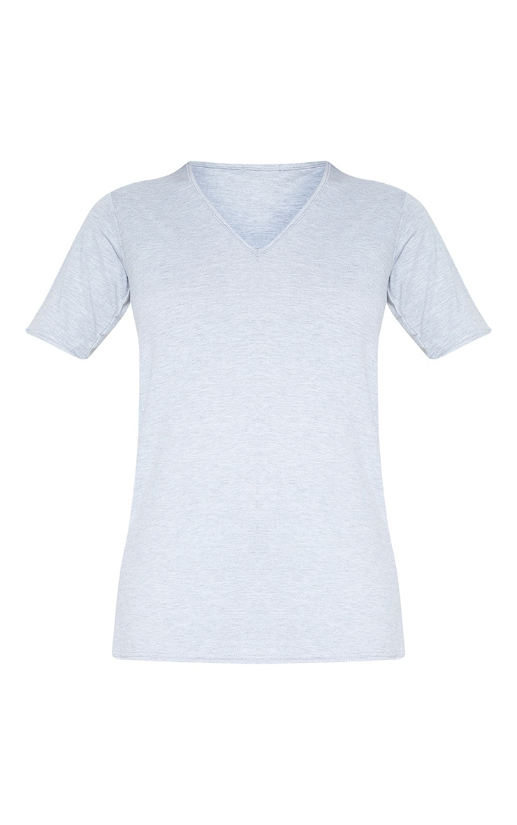 Tall Grey Basic V Neck T Shirt  3