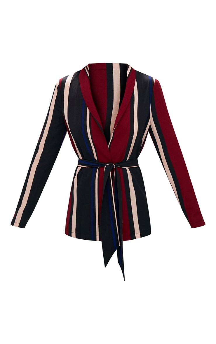 Cobalt Stripe Belted Blazer 3