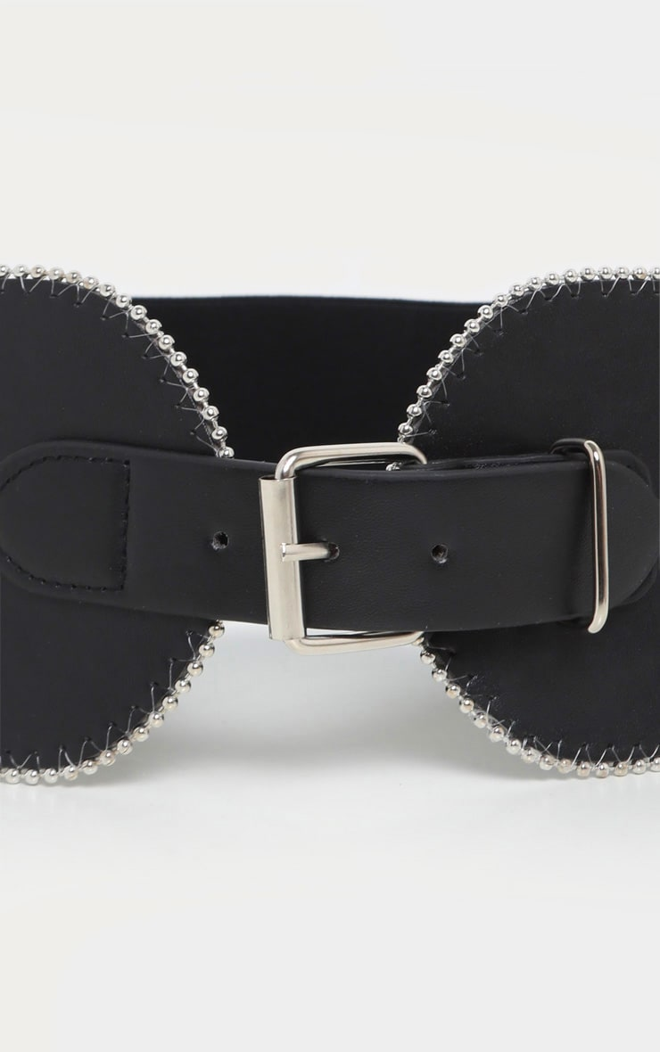 Black Ball Chain Border Wide Waist Belt 4
