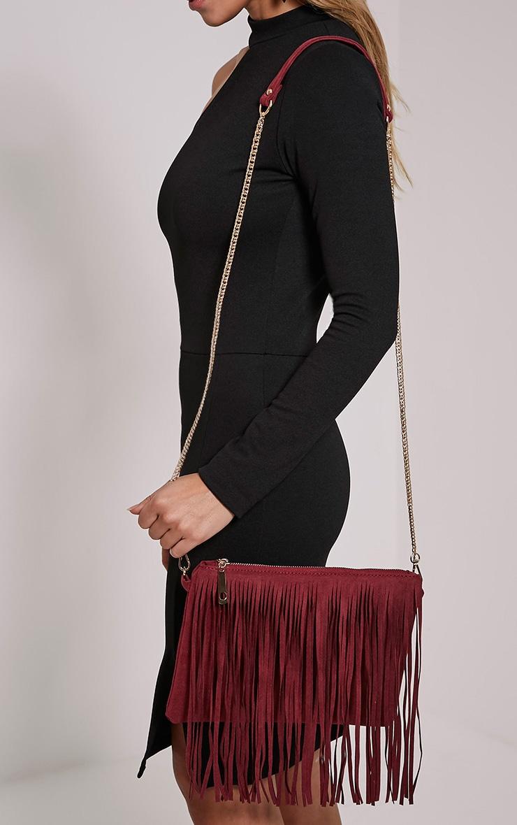 Dany Burgundy Fringe Bag 3