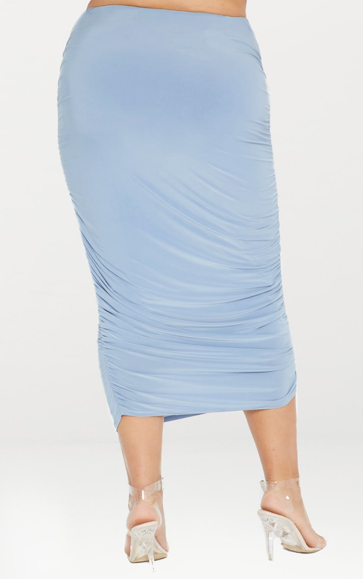 Plus Second Skin Dusky Blue Ruched Midi Skirt 5