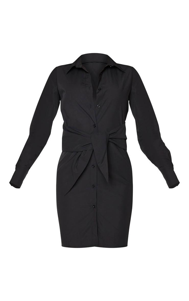 Tall Black Wrap Detail Shirt Dress 5