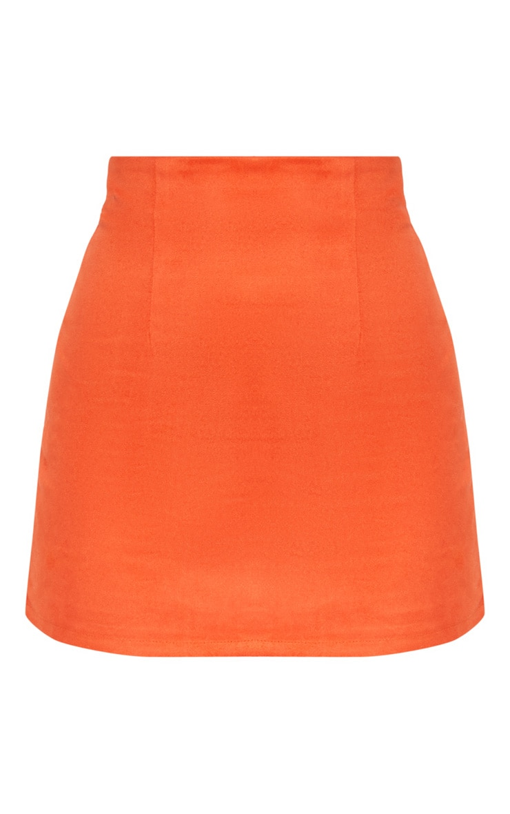Orange Faux Suede Mini Skirt  3