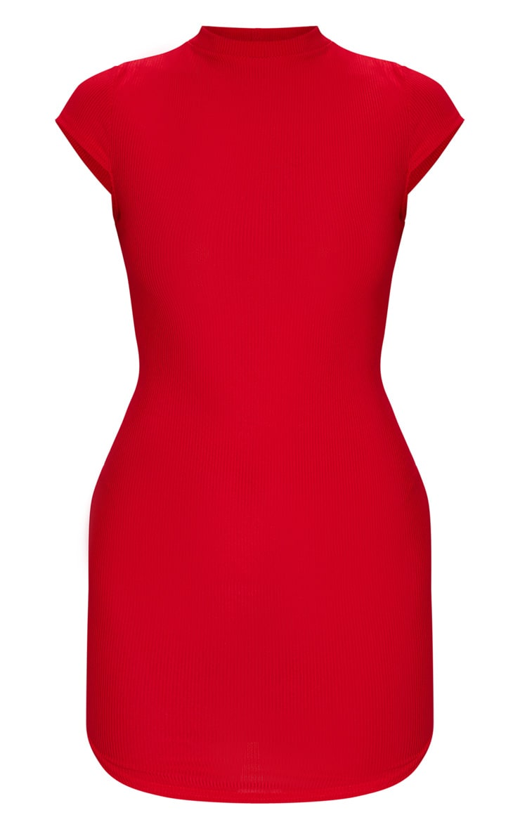 Red High Neck Ribbed Bodycon Dress 5