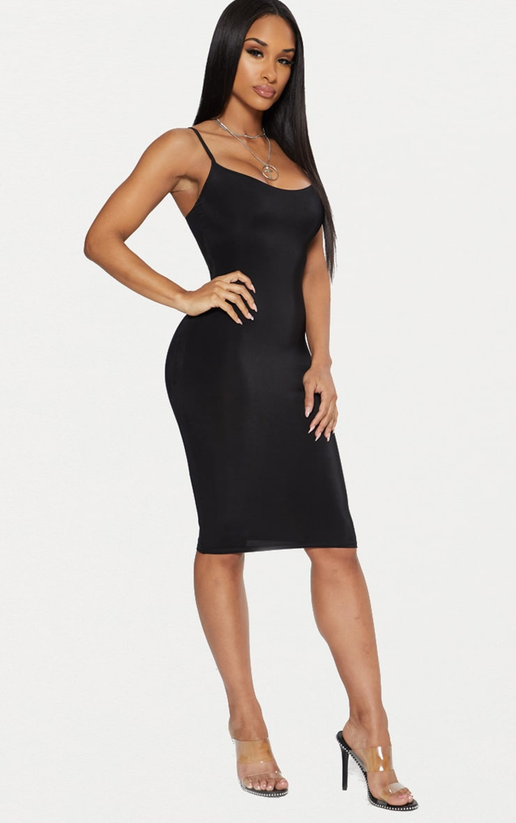 Black Second Skin Slinky Strappy Midi Dress 3