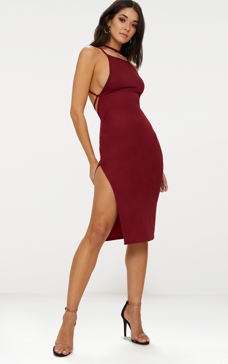 Deep Berry High Neck Extreme Strappy Back Choker Detail Midi Dress 4