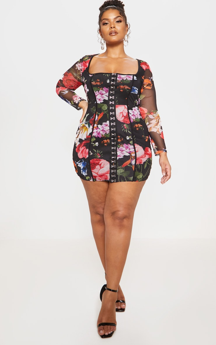 Black Floral Print Piped Detail Bodycon Dress 5