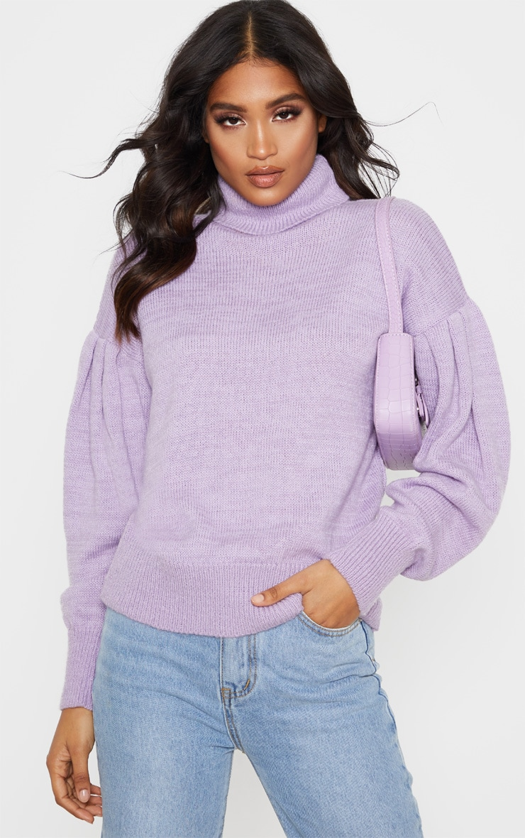 Lilac Oversized Puff Sleeve Roll Neck Jumper 5