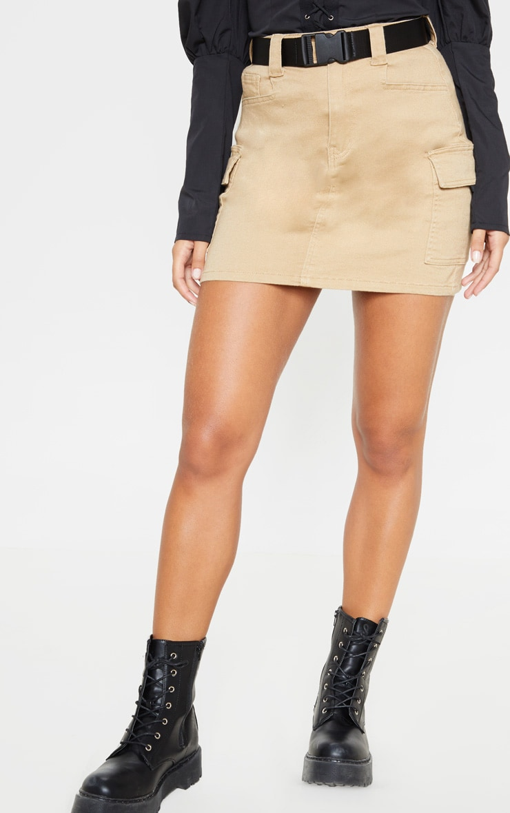 Stone Cargo Pocket Belted Denim Skirt 2