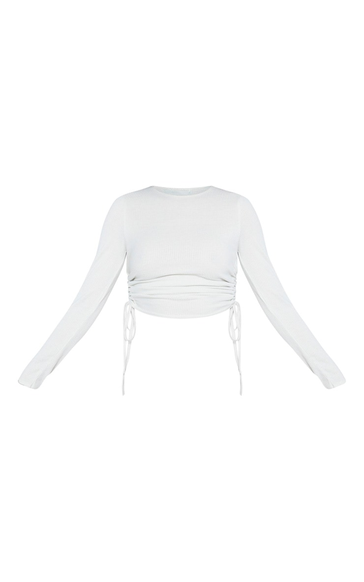 Tall Stone Ribbed Long Sleeve Ribbed Top  3