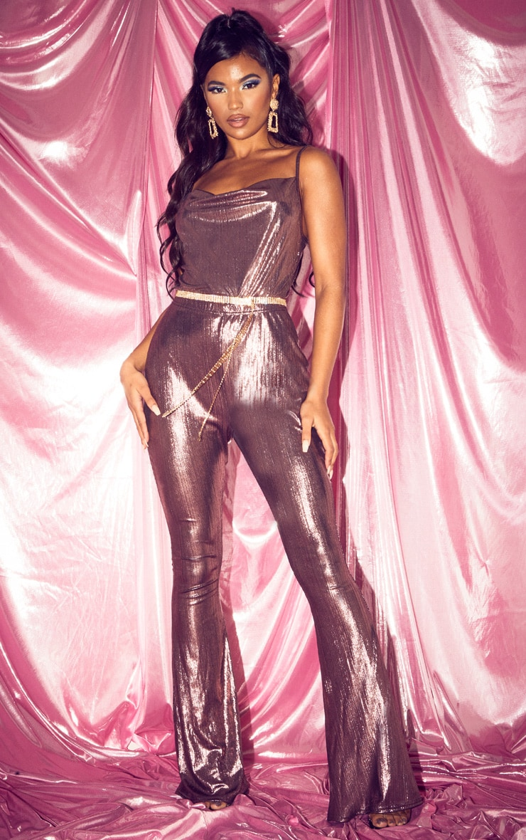 Rose Metallic Cowl Neck Bodysuit 5